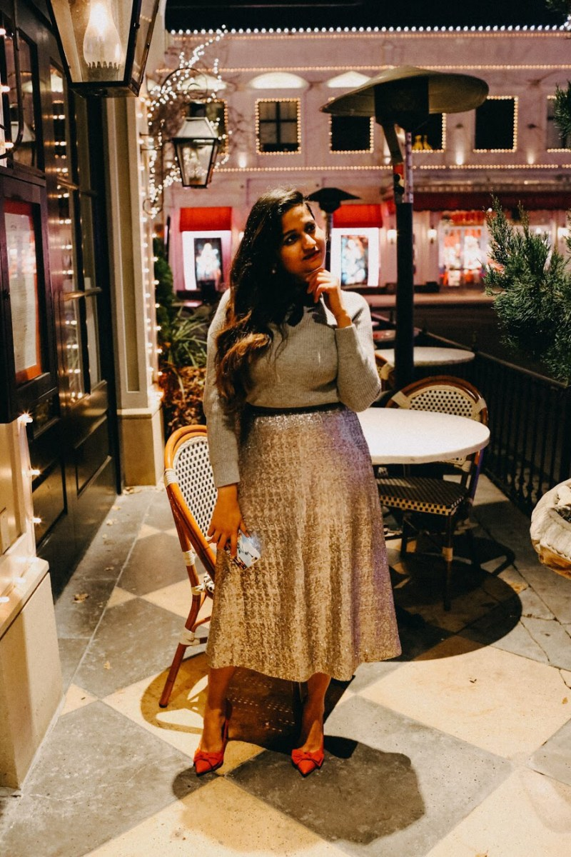 Lifestyle Blogger Surekha of Dreaming Loud Wearing Boden Drapey Sequin Skirt
