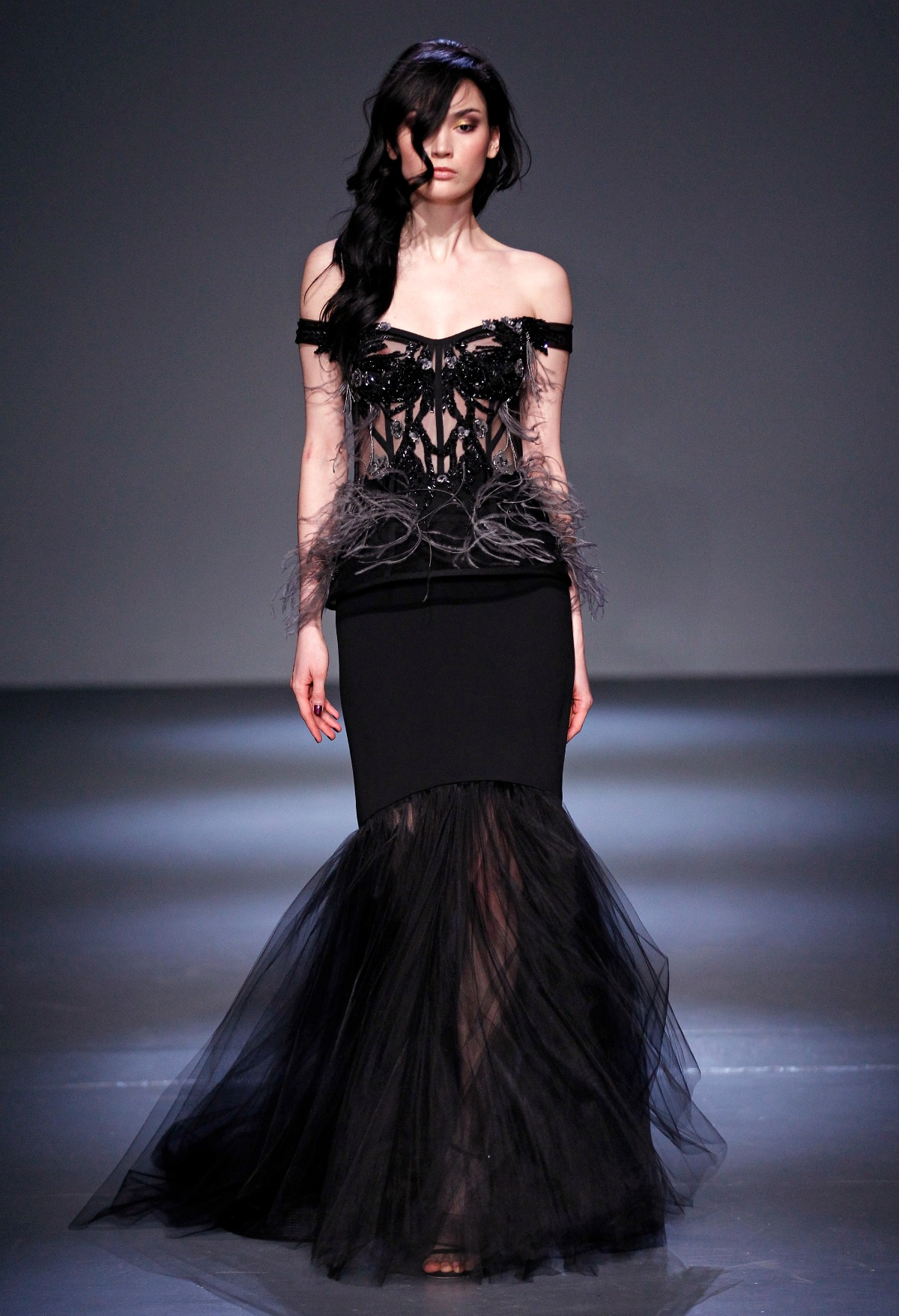 Pamella Roland Fall 2018 Runway I Black Tulle Mermaid Gown #NYFW #DreaminLace