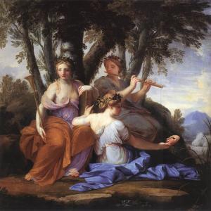 The Muses Clio, Euterpe, and Thalia, by Eustache Le Sueur, c. 1652-1655