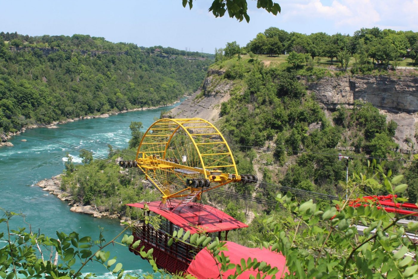 A photo of the whirlpool aerocar above the Niagara River.