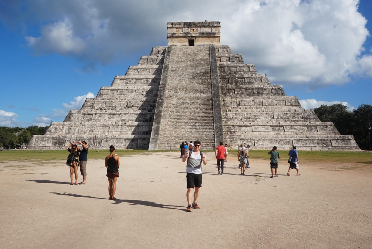 An image of Moshe, the Top Ten Travel writer, at a Mayan ruin.