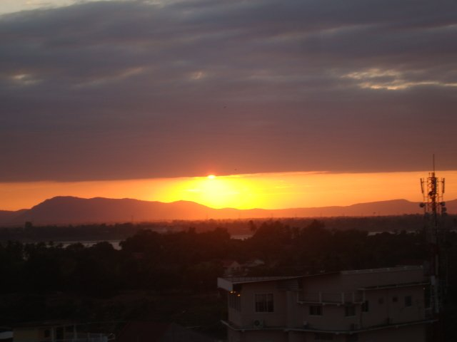Sunset from panoramic rooftop restaurant