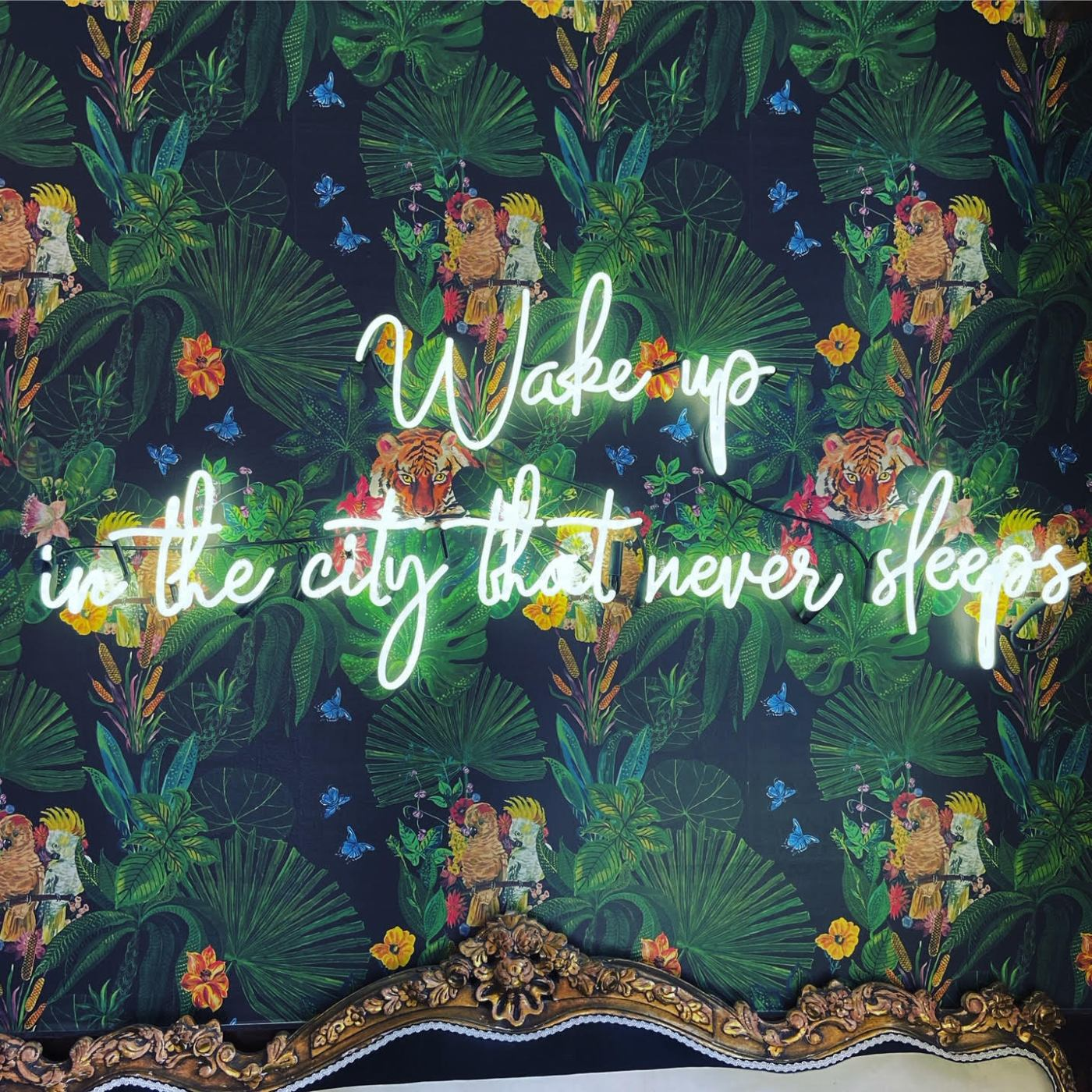 """Wallpaper with LED lights that say """"Wake up in the city that never sleeps"""""""