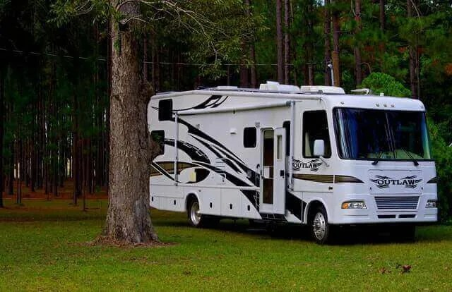 Class A RV in the woods