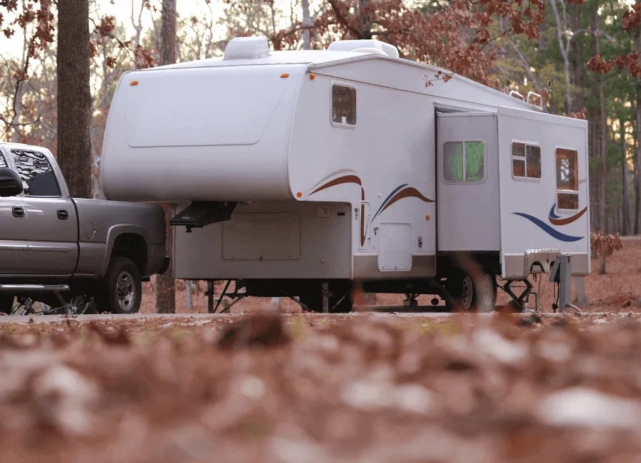 Example of parked fifth wheel