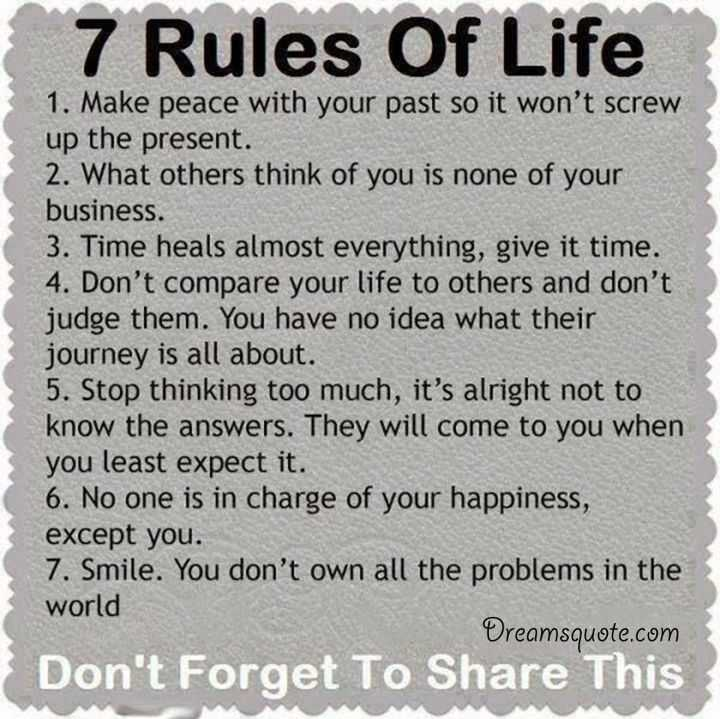 Inspirational Life Quotes: Positive Quotes About Life ' The 7 Rules Of Life, Deep
