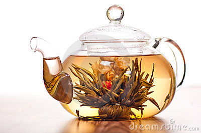 Rose tea in glass pot