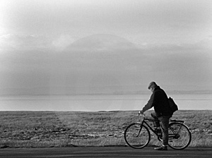 Old Man And Bicycle Stock Image
