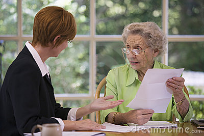 Senior Woman Meeting With Agent Royalty Free Stock Photography - Image: 6275497