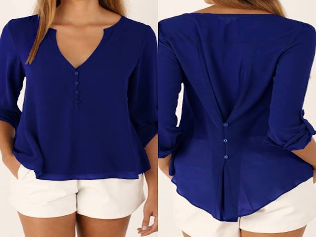 Royal Blue V-neck Button Detail Dip Back Blouse
