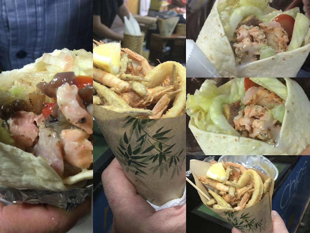 kebab di pesce arrostito e dal cuppitiello di pesce e patate