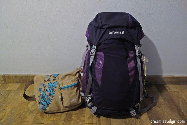 My carry on luggage: backpack and handbag