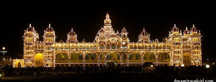 Mysore palace lightning