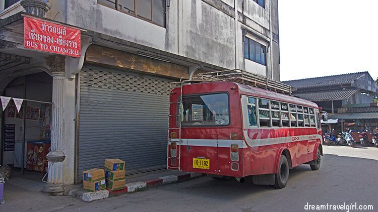 The bus to Chiang Rai (it will stop here or around the corner)