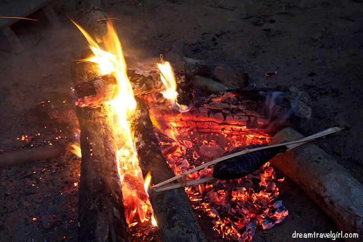 Laos_Huay-Bo_fire-fish-dinner