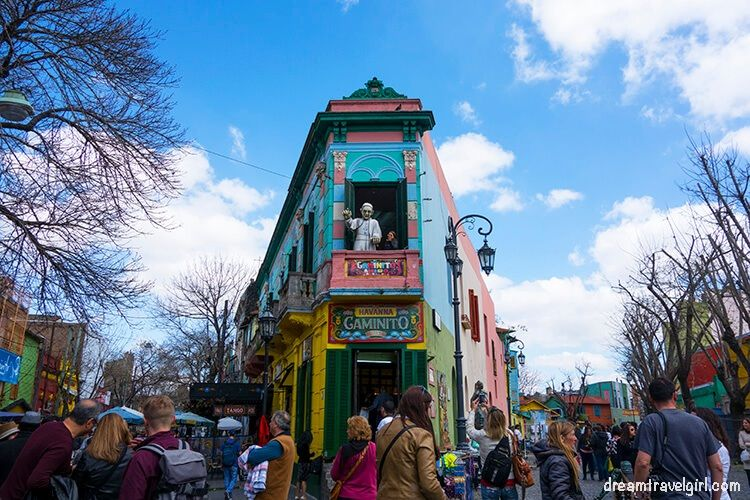 Colorful houses and tourists in Caminito