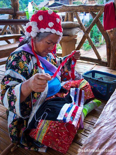 Lahu woman waving