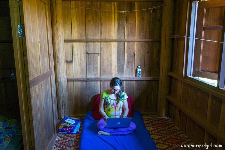Sitting in my office in the wooden stilt hut