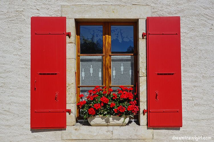 Red window with red flowers