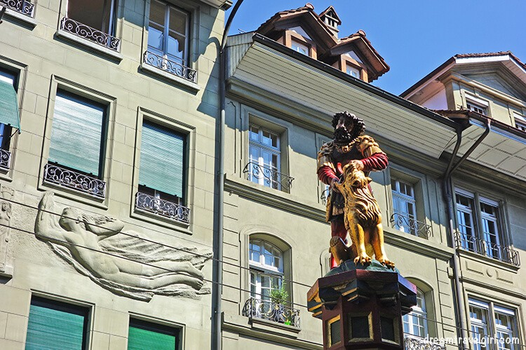 Fountain sculpture and architecture in the Old Town in Bern