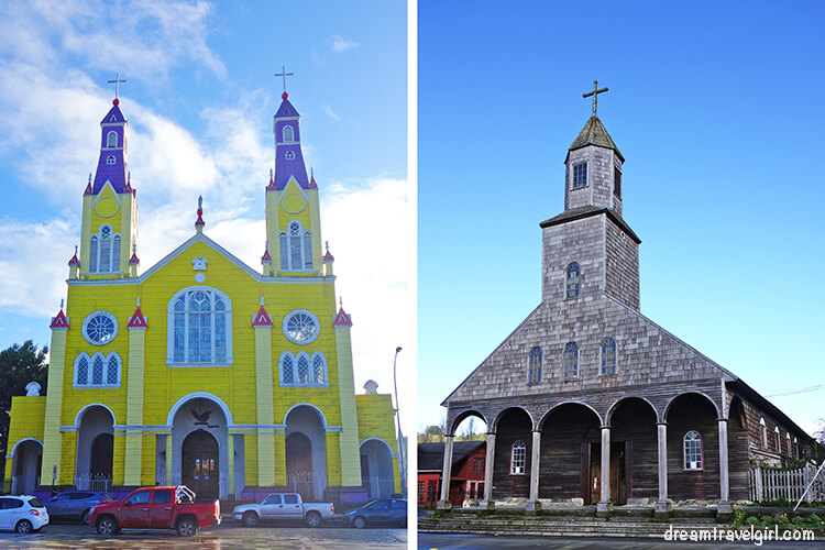 Wooden churches in Castro (left) and Achao (right)
