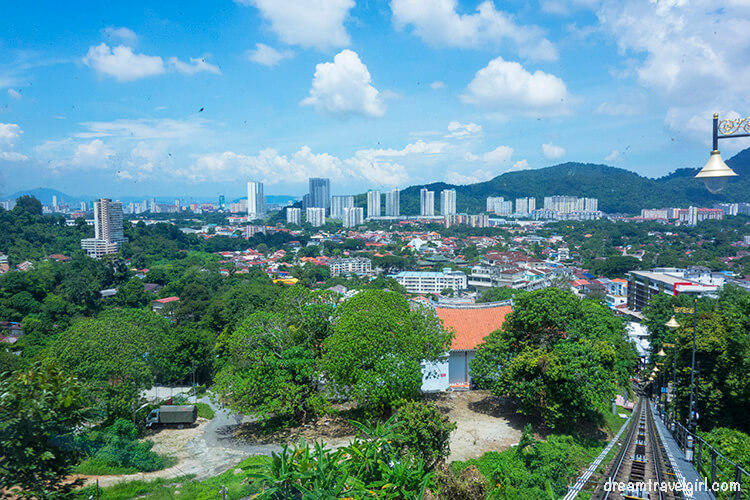 Riding the cable car in the Penang Hill