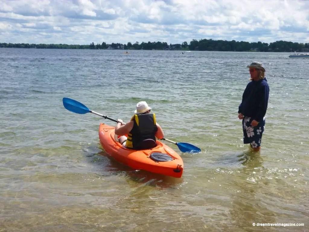 Al showing me tips in Kayak Orillia A Breathe of Fresh Air kayak rentals orillia