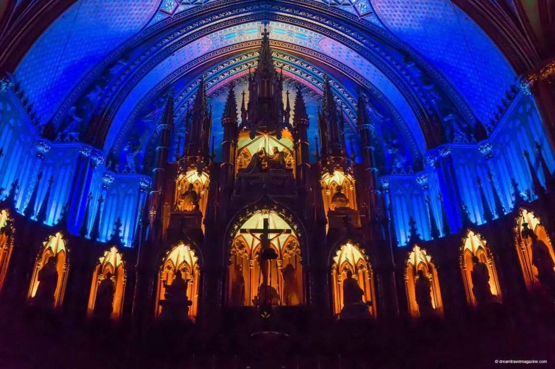 Notre Dame inside lit up at night