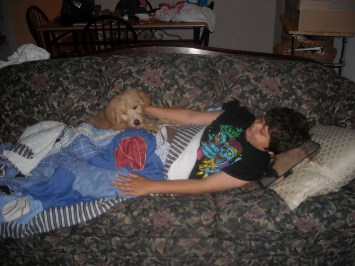 Connor my son and Toby