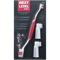 Next Level Pet Premium Triple Toothbrush Value Pack, Dog & Cat Approved, Toothpaste Recipes, Medium, 3 Count