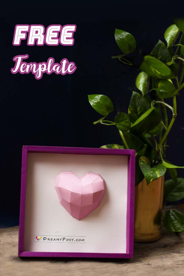 How To Make Paper 3D Heart Frame FREE Template And Tutorial