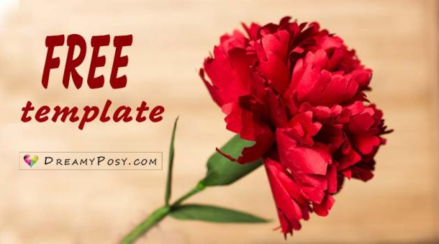 How to make Carnation paper flower  free template  easy Free template and tutorial to make paper Carnation  paper flowers tutorial   flower making tutorial