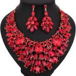 Luxury Full Leaf shaped Crystal Necklace and Earrings.
