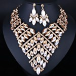 Crystal Rhinestone Necklace and Earrings for Women. Indian Wedding Jewelry sets.