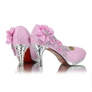 Womens gold silver red diamond wedding shoes.