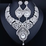 Necklace and Earrings Set. Fashionable Crystal Rhinestones Bridal jewelry sets.