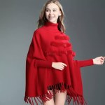 Women's Spring Winter High Collar Poncho Capes.