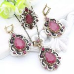 Womens Flower Resin Jewelry Sets Hook Earring Antique Gold Color . Indian jewellry set.