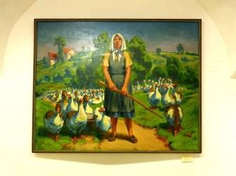 Gemälde Bäuerin mit Gänsen