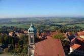 Blick von Burg Stolpen mit Windpark