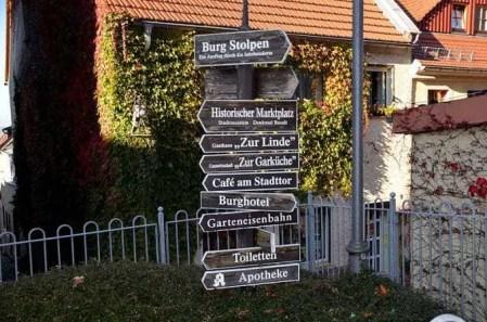 Wegweiser Burg Stolpen