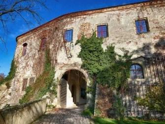 Eingang Schloss Scharfenberg Stinmauer bewachsen