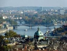 Moldau Fluss Brücken Schiffe Fähren