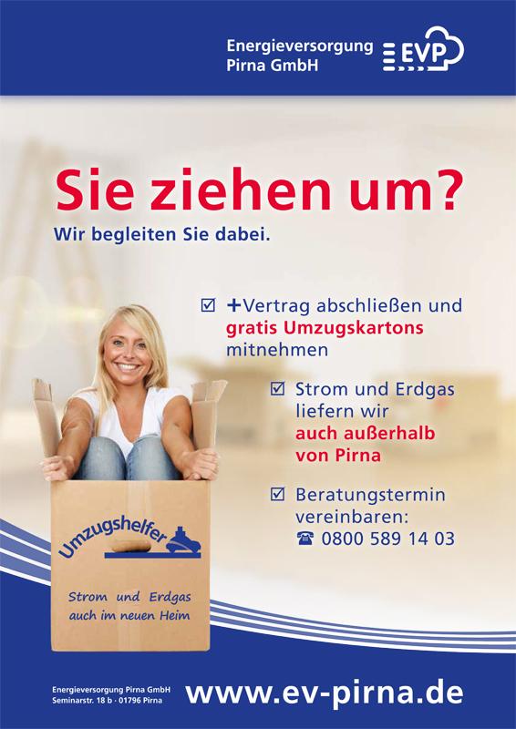 Sie ziehen um? Wir begleiten Sie dabei. +Vertrag abschließen und gratis Umzugskartons mitnehmen. Strom und Erdgas liefern wir auch außerhalb von Pirna. Beratungstermin vereinbaren: 0800 589 14 03. www.ev-pirna.de