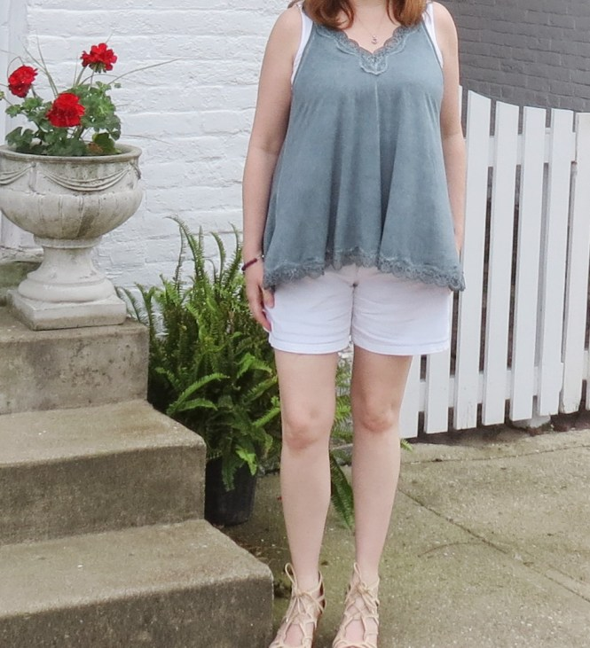 Lace Teal Tank Top