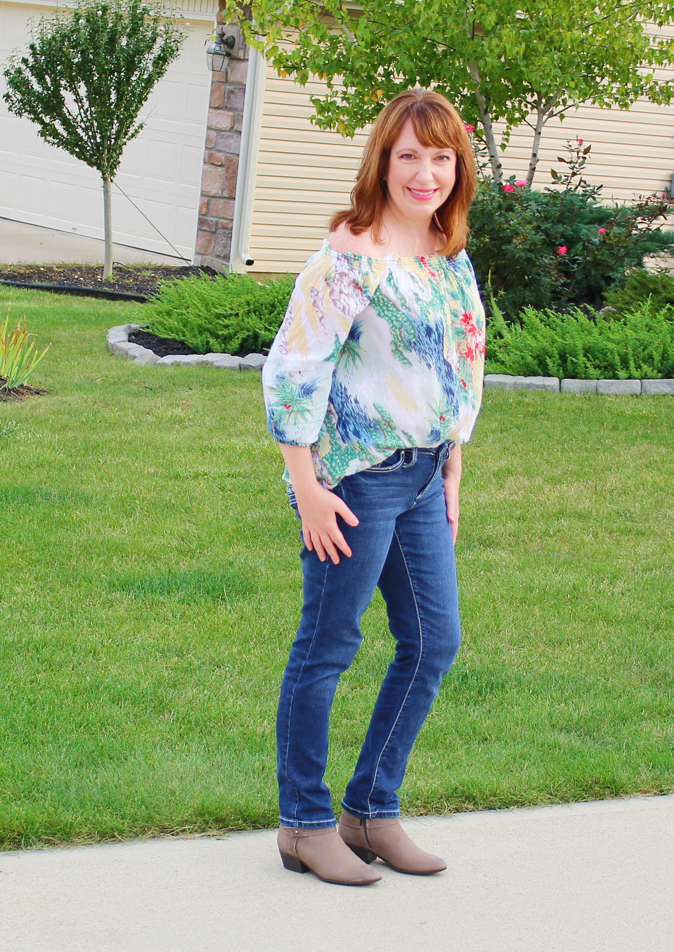 Off Shoulder Top With Jeans And Booties