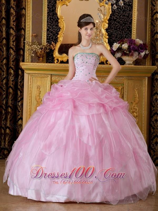 Baby Pink Sweet 16 Dress Beading Organza  Discount ...