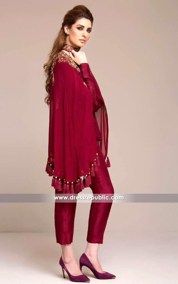 DR14135 - DR14135 - Dark Burgundy Cape Dress