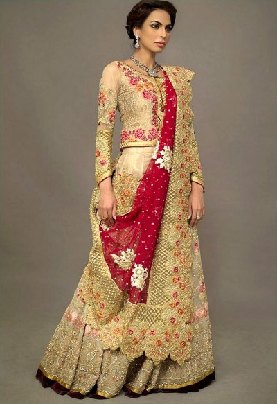 DR14145- Gold Ice Teplice Lehenga with Short Shirt and Dupatta