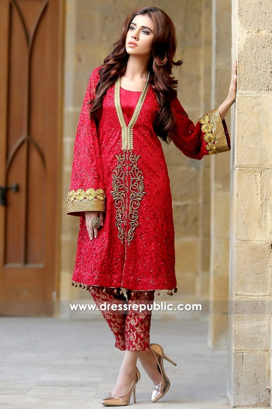 DR14162 - Deep Red Lace Net Jacket Dress